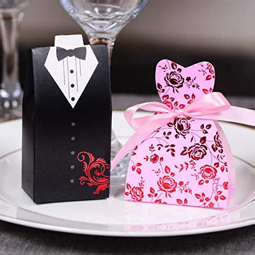 DeemoShop 100pcs/lots Bride Groom Wedding Candy Box Gift Favour Boxes Wedding Bonbonniere Event Party Supplies Ribbon by DeemoShop
