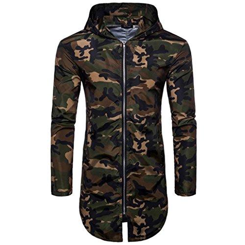 iLXHD Men's Summer Camouflage Print Suntan-Proof Hooded Long T-Shirt Top Blouse(Army Green,2XL) ()