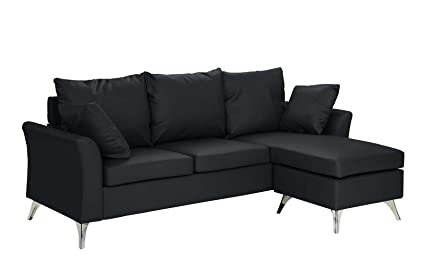 Bon Casa Andrea Milano Modern PU Leather Sectional Sofa   Small Space  Configurable Couch (Black)