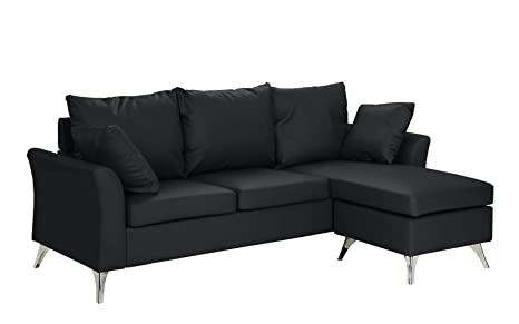 Tremendous Modern Pu Leather Sectional Sofa Small Space Configurable Couch Black Short Links Chair Design For Home Short Linksinfo