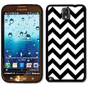 Samsung Galaxy Note 3 Black Rubber Silicone Case - Black and White Chevron Print