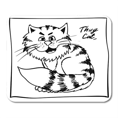 Boszina Mouse Pads Super Thug Kitty on The Holiday Rest Infantile Outline Sketch Cat for Coloring Book Bandit Animal Doodle Mouse Pad for notebooks,Desktop Computers mats 9.5