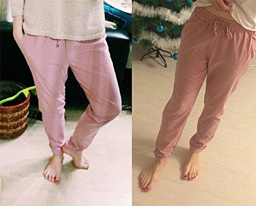 Rose soie femmes de quotidien mousseline le en cordon de pantalons Pantalon affaires occasionnel et avec les le pour E0O5qxwnT4