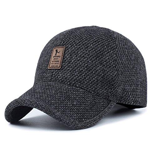 Wool Earflap Hat - King Star Mens Winter Wool Woolen Tweed Peaked Earflap Baseball Cap Black