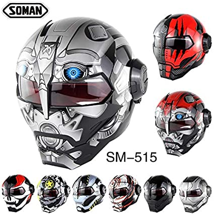 Soman Motorcycle Personality Iron Man Helmet Off-road Cross Country Casco Open Face DOT Approval