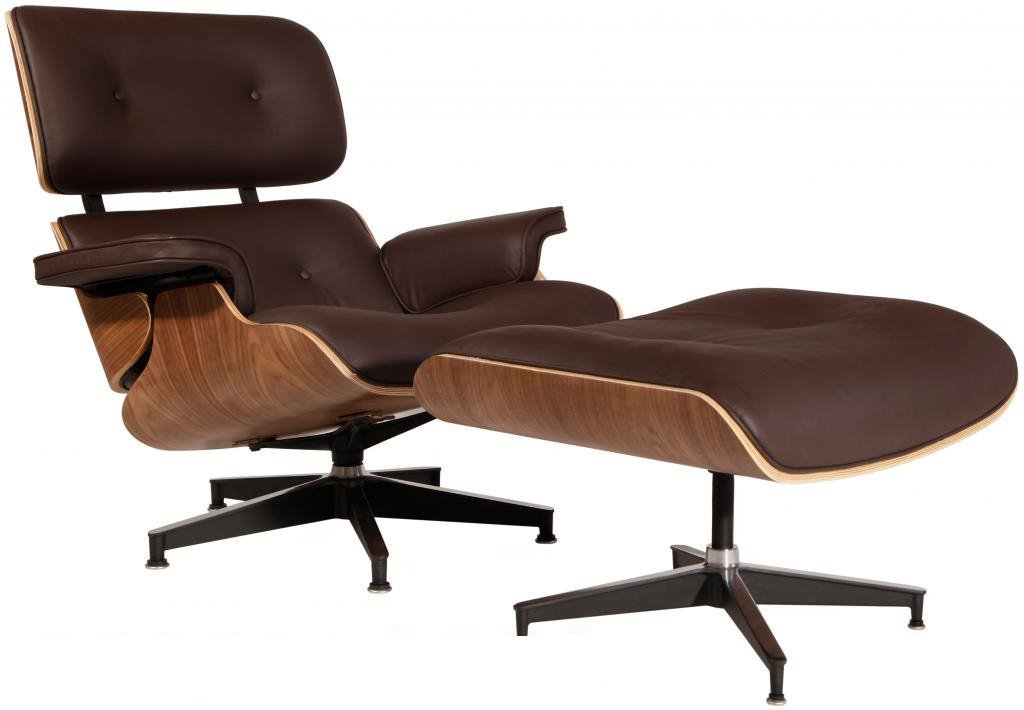 Modern Sources - Mid-Century Swivel Plywood Lounge Chair & Ottoman Real Premium Leather (Brown/Walnut) by Modern Sources