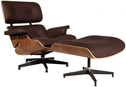 Eames Lounge Stoel Replica.Modern Sources Mid Century Plywood Lounge Chair Ottoman Eames Replica Brown Walnut Real Premium Leather