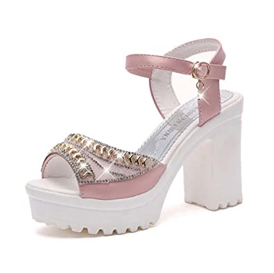Europäische und Amerikanische flache Sandalen, große Schuhe, Schnallen, Freizeitschuhe, Pink, 40