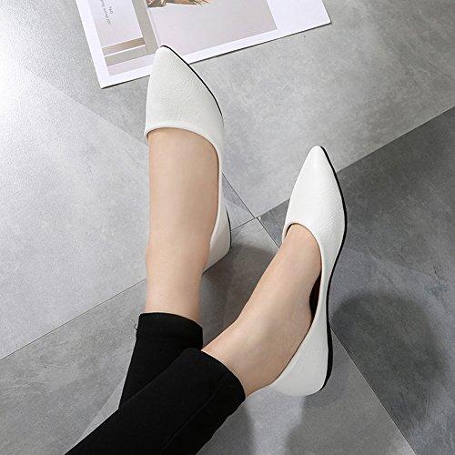 fereshte Women's Flat Ballerina Dolly Pumps Soft Work Shoes White EMXkI85