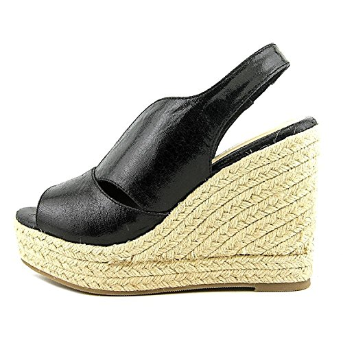 Athena Alexander Womens Goodye Open Toe Slingback Wedge Pumps Black/Spk