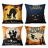 U-LOVE Happy Halloween Throw Pillow Covers Cotton Linen Decorative Cushion Cover Cases with Cat Bat Pumpkin Little Witch Element 18x18 Inches,4Pack (Happy Halloween)