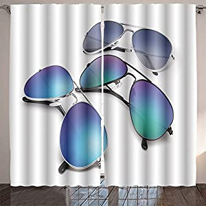 SOCOMIMI Room Curtain aviator sunglasses isolated on white background with blue mirrored lenses