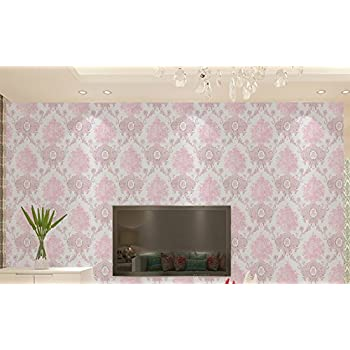Peel and Stick Damask Design Wallpaper Self Adhesive PVC Contact Paper Drawer Shelf Liner for Home Wall Art Decal (23.4x169Inch,Pink)