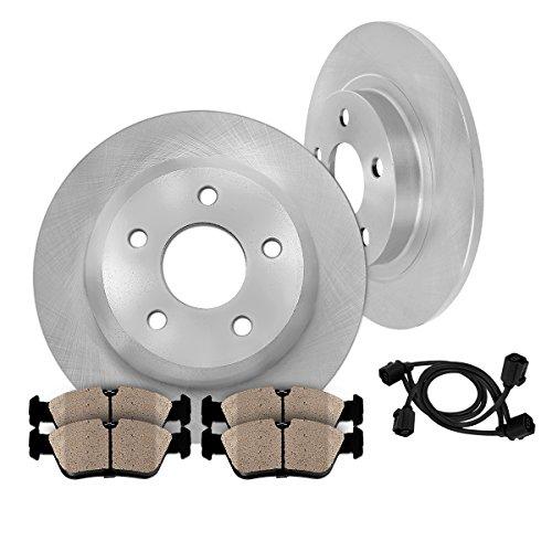 Mercedes Benz Sedan Brake Pad ([ 2 REAR Retaining Pins Models ] REAR 290 mm Premium OE 5 Lug [2] Brake Disc Rotors + [4] Ceramic Brake Pads + Sensors)