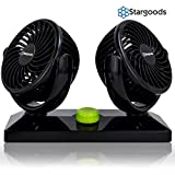 Car Fan Dual Head 360 Degree Rotation, Variable Speed 12V Auto Air Cooling