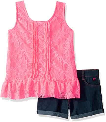 Limited Too Girls' 2 Piece Lace Ruffle Tank Top and Stretch Denim Short