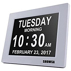 [Newest Version] 5 Alarm Options Day Clock - Extra Large Digital Clock With Digital Calendar Non-Abbreviated Day & Month Alarm Clock,8 inch LCD Screen Desk Clock,Perfect for Mom Dad And Seniors