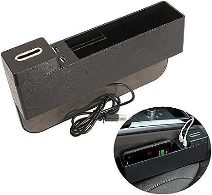 tarjetas con soporte para monedas y 2 puertos USB monedas bolsillo lateral para el asiento para tel/éfonos m/óviles llaves VVHOOY carteras Bolsillo lateral para asiento de coche