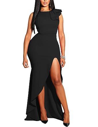 c9939323 MIZOCI Womens Sexy Ruffles Sleeveless Side Split Evening Gown Bodycon Maxi Party  Dress,Small,