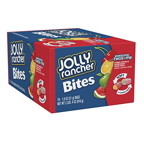JOLLY RANCHER Chewy Candy Bites, Cherry, Orange, Watermelon, Green Apple (Pack of 18) ()