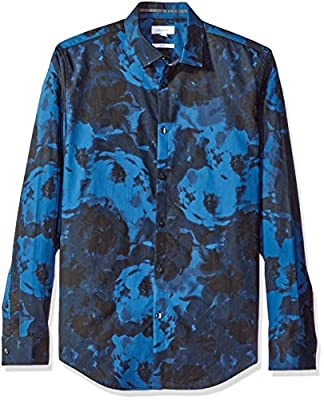 Calvin Klein Men's Slim Fit Long Sleeve Large Flower Print Button Down Shirt