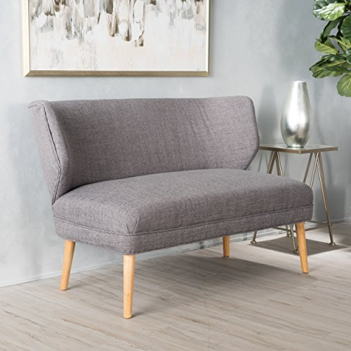 Upholstered Bench With Back - Christopher Knight Home 299388 Dumont Mid Century Modern Fabric Loveseat Sofa Settee (Light Grey),