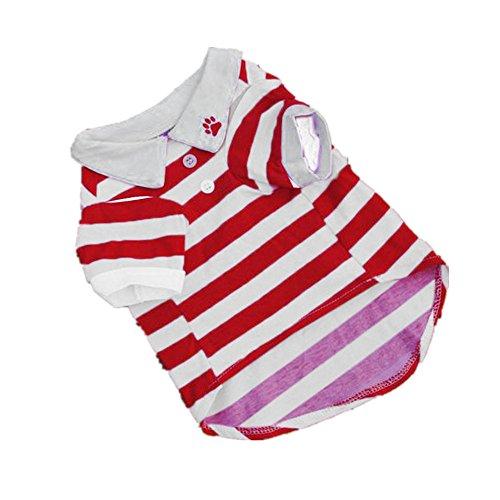 Clearance Sale! Puppy Clothes WEUIE Hot Cute Dog T-Shirt Clothes Lapel Stripe Cotton Puppy Pet Dog Clothes (XS, Red)