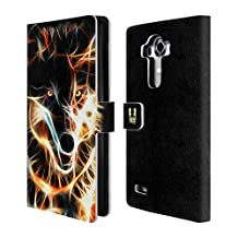 Head Case Designs Wolf Wildfire Leather Book Wallet Case Cover For LG Nexus 5