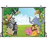 LYWYGG Zoo Photography Backdrops 7x5ft Cartoon Safari Animals Backdrop Happy Birthday Photography Background Fauna Jungle Wildlife Zoo Themed Party Decoration Photo Studio Props CP-4