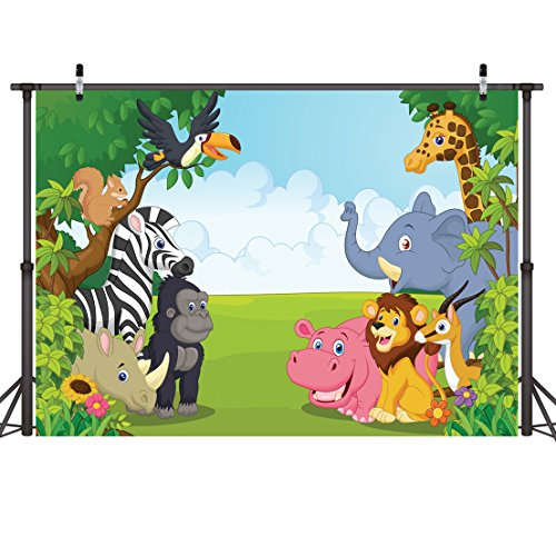 LYWYGG Zoo Photography Backdrops 7x5ft Cartoon Safari Animals Backdrop Happy Birthday Photography Background Fauna Jungle Wildlife Zoo Themed Party Decoration Photo Studio Props CP-4