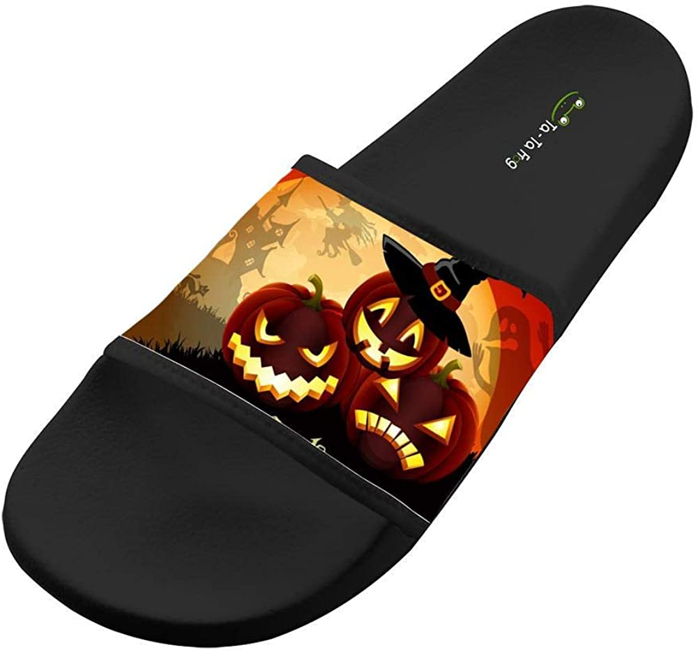 KOUY Summer Unisex Halloween Pumpkin Party Home Slippers Bath//Beach Non Slip Slide Sandals