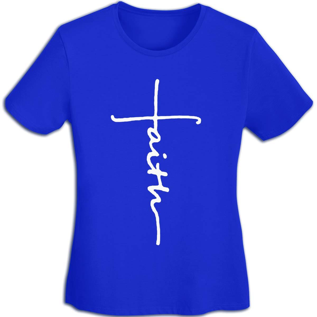 Women's T Shirt Cross Faith Shirts Jesus Tshirts Cotton Christian T-Shirt Short-Sleeve Tshirt for Women Youth Girls Blue L by BKashy