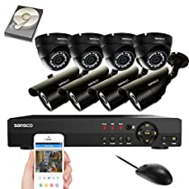 SANSCO 8CH 1080N DVR Recorder CCTV Security Camera System with 8x Super HD 1.0MP Outdoor Cameras and 2TB Hard Drive(1280x720 Bullet+Dome Cam, Rapid USB Storage Backup, Vandal and Water-Proof Body)