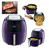 GoWISE USA 5.8-Quart Programmable 8-in-1 Air Fryer XL + 50 Recipes for your Air Fryer Book (Plum)