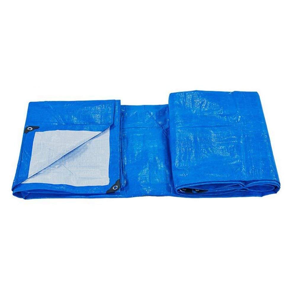 Betty Doppeltes 100% wasserdichtes und UV-geschütztes Outdoor-Camping-Plane, große PKW-Abdeckung Boat Pool Sunshade Plane Blatt, 170g   m², Dicke 0,3 mm, Blau + Weiß (größe   4x6m)