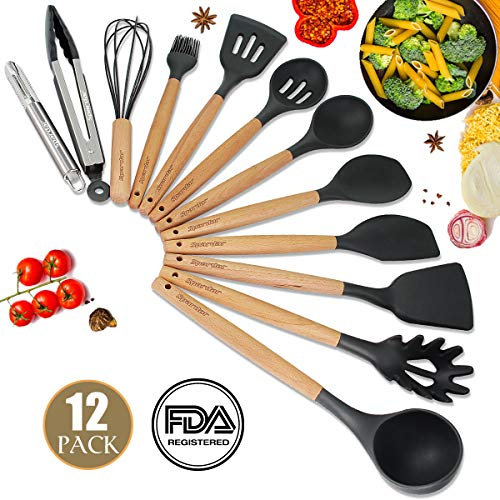 - Spardar Kitchen Utensil Set - 12 Piece Cooking Utensils - Non-stick Silicone and Wooden Utensils BPA Free, Non Toxic Turner Tongs Spatula Spoon Set