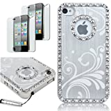 iphone 4s case bling crystal - Pandamimi Deluxe Silver Chrome Bling Crystal Rhinestone Hard Case Skin Cover for Apple iPhone 4 4S 4G With 2 Pcs Screen Protector and Silver Stylus