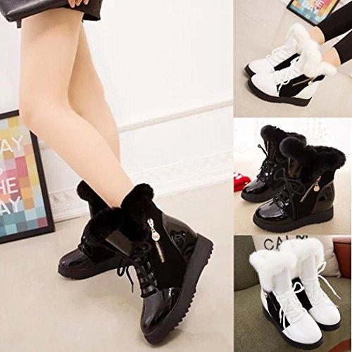 Fourrure Rembourré Neige Talon Noir Hiver De Femme Chaussure Cooshional Boots Plat Lacet xgIqaq