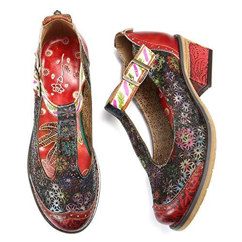 comode multicolore pumps Scarpe con Rosso Janes Mocassini donna Gracosy Scratch da Mary Summer piatte in tacco pelle Ballerine Spring originali qaxgwU7A