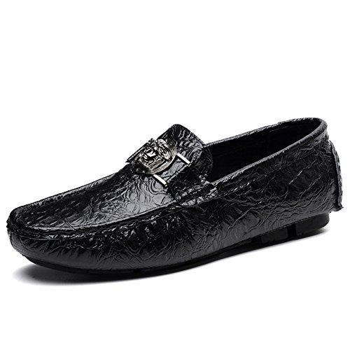 Sunny&Baby Talon Plat Hommes Mocassins Business Loisirs Alligator Imprimer Vamp Chaussures Décontractées Jusqu'à la Taille 47 Anti-dérapage (Couleur : Bleu, Taille : 43EU) Noir