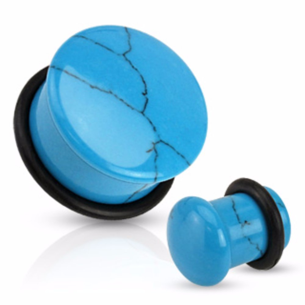 Sold by Pair Turquoise Precious Stone Single Flare Freedom Fashion Plug O-Ring