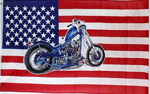 Ramson Imports of America 3'x5' Flag U.S. US American Flag W/ hardtail Low Rider Chopper Motorcycle