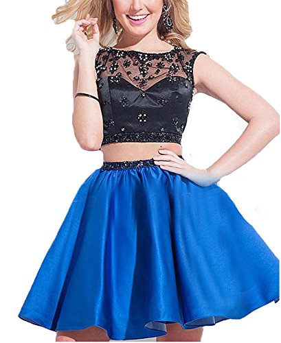 Sheer BessDress Party BD146 Blue Homecoming 2018 Short Gwns Royal Dresses Prom Beads Two Neck Piece Lace OpxpwnPZ