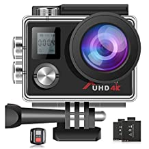 Campark ACT76 Sports Action Camera 4K 16MP Underwater Waterproof Cam WiFi Remote Control Dual Screen Ultra HD Cameras with 2Pcs Batteries and Accessories Kits