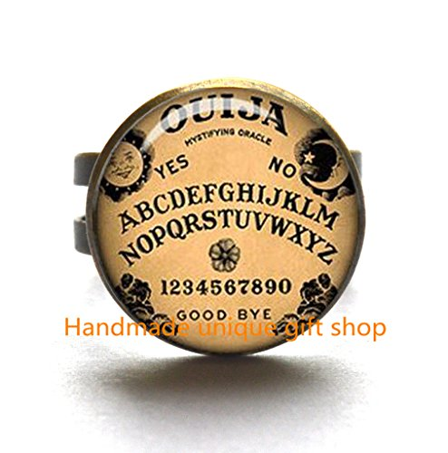 e Ring,Ouija Board Ring Oujia Ring Oujia Game Inspirational Gift Black Magick Photo Ring Wiccan Jewelry Wicca Ring Pagan Jewelry-RC024 (Handcrafted Ouija Board)