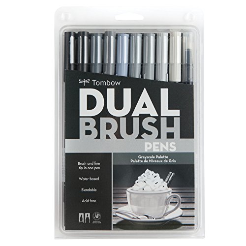 Pen And Ink Drawing Supplies - Tombow DBP10-56171 Dual Brush Pen Set of 10 Grayscale