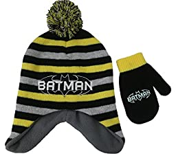 DC Comics Batman Boys Striped Hat and Mitten Set - Toddler [4013]