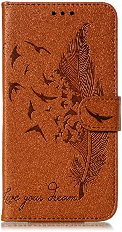 Samsung Galaxy S10e Case, Shockproof Premium Soft PU Leather Flip Notebook Wallet Case Embossed Feather Birds with Magnetic Stand Card Holder Slot Folio TPU Bumper Protective Skin Cover brown