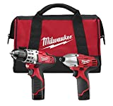 Milwaukee 2494-22 M12 Cordless Combo Drill Kit, 2 Battery (Certified Refurbished)