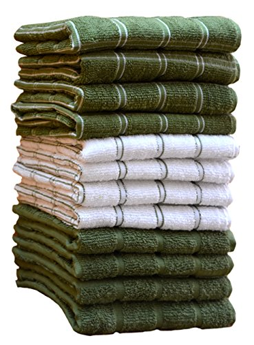 HomeLabels Kitchen Towels (12 Pack, 15''x 25'') 100% Premium Cotton, Machine Washable Extra Soft Set of 12, 3 Designs Dobby Weave Kitchen Dish Cloths, Tea Towels, Bar Towels, Green by HomeLabels